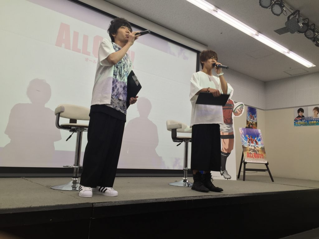 Mr. Shoya Chiba (Left: as Kenji Gion) and Mr. Yuto Adachi (Right: as Sumiaki Iwashimizu)