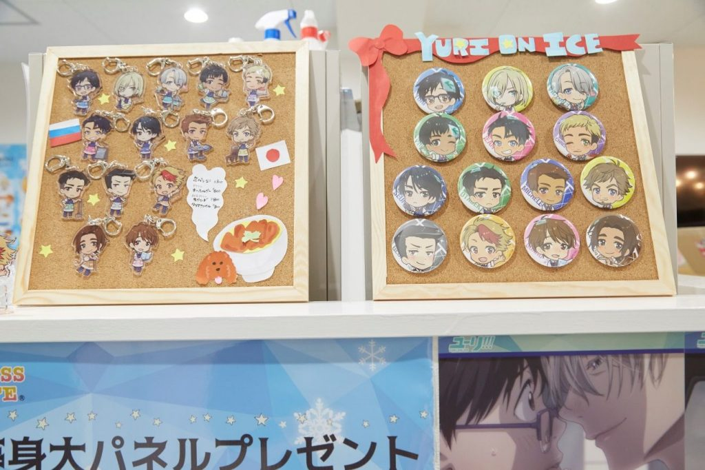Yuri!!! on ICE Collaboration Café | MANGA.TOKYO Photo Report | Straps and Pins