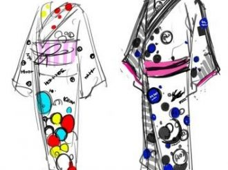 Yukata and Hanging Scrolls with Illustrations by Akira Amano
