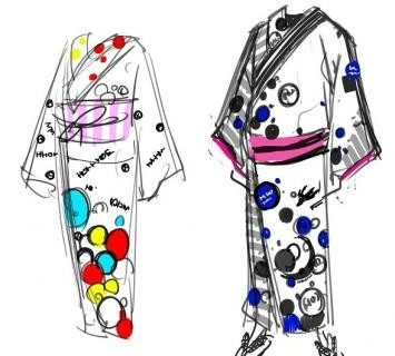 The rough sketch of the yukata design by Amano