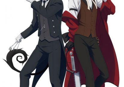 The visual of Blue Butler with Rin dressed as Sebastian and Yukio dressed as Grell