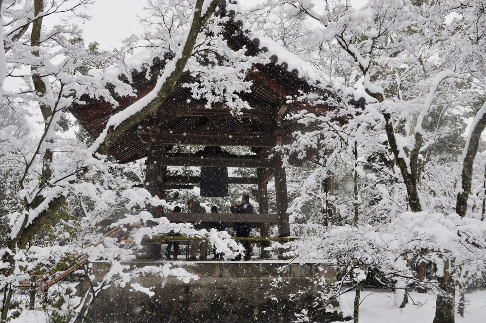Temple and snow in Kyoto, Japan