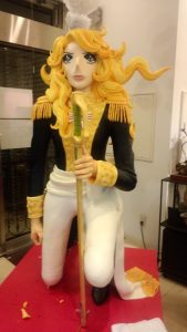 Life-size colorful statues of Oscar from Rose of Versailles
