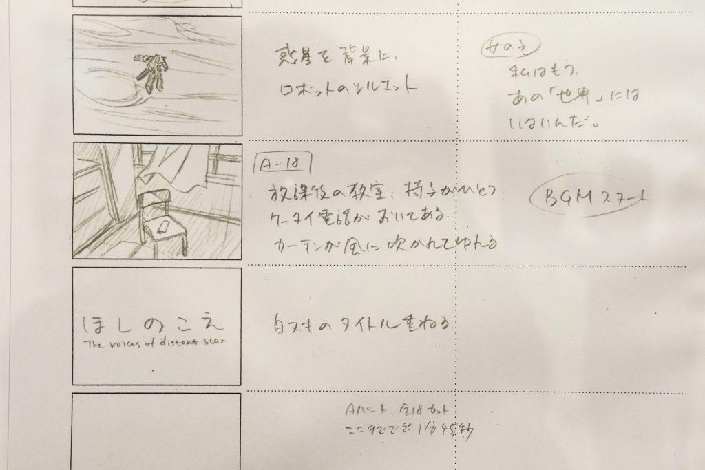 'Voices of a Distant Star' storyboard Exhibited at AnimeJapan 2017 |