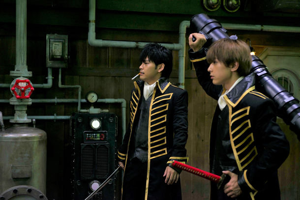 *Gintama* on set. From left, Yuya Yagira, Ryo Yoshizawa from the live action movie adaptation of Gintama
