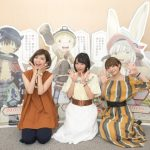 The cast of anime Made in Abyss: Miyu Tomita voicing Riko, Shiori Izawa voicing Nanachi and Mariya Ise voicing Reg.
