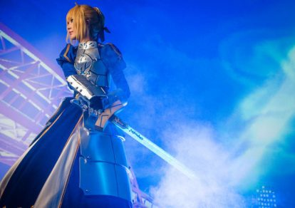Photo from Fate Kishi-ou wo Genkai Sasete Mita Project Mapping, a Fate series illuminations and project mapping featuring the Saber Artoria Pendragon.