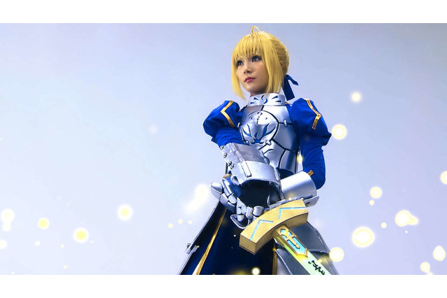 Still from Fate Kishi-ou wo Genkai Sasete Mita Project Mapping, a Fate series illuminations and project mapping featuring the Saber Artoria Pendragon.