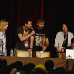 From the Anime Expo panel of the animated series RWBY with Barbara Dunkelman, Gray Haddock, Kerry Shawcross, and Miles Luna from the production company, Rooster Teeth.