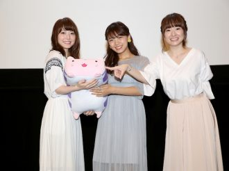 The main cast of Yuki Yuna is a Hero Sumi Washio Chapter 'Yakusoku' attended a special stage greeting event! Suzuko Mimori (Sumi Washio), Kana Hanazawa (Sonoko Nogi), and Haruka Terui (Yuki Yuna).