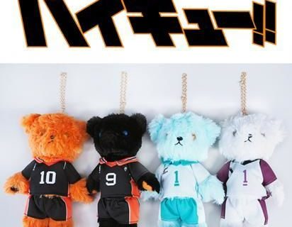 Stuffed bears inspired by Haikyu!! characters