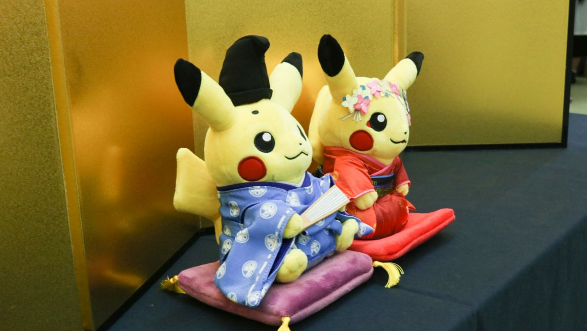Pokemon Center Kyoto | The male Pikachu is a court noble from the ancient Heian period and the female Pikachu is a maiko (a type of Geisha).