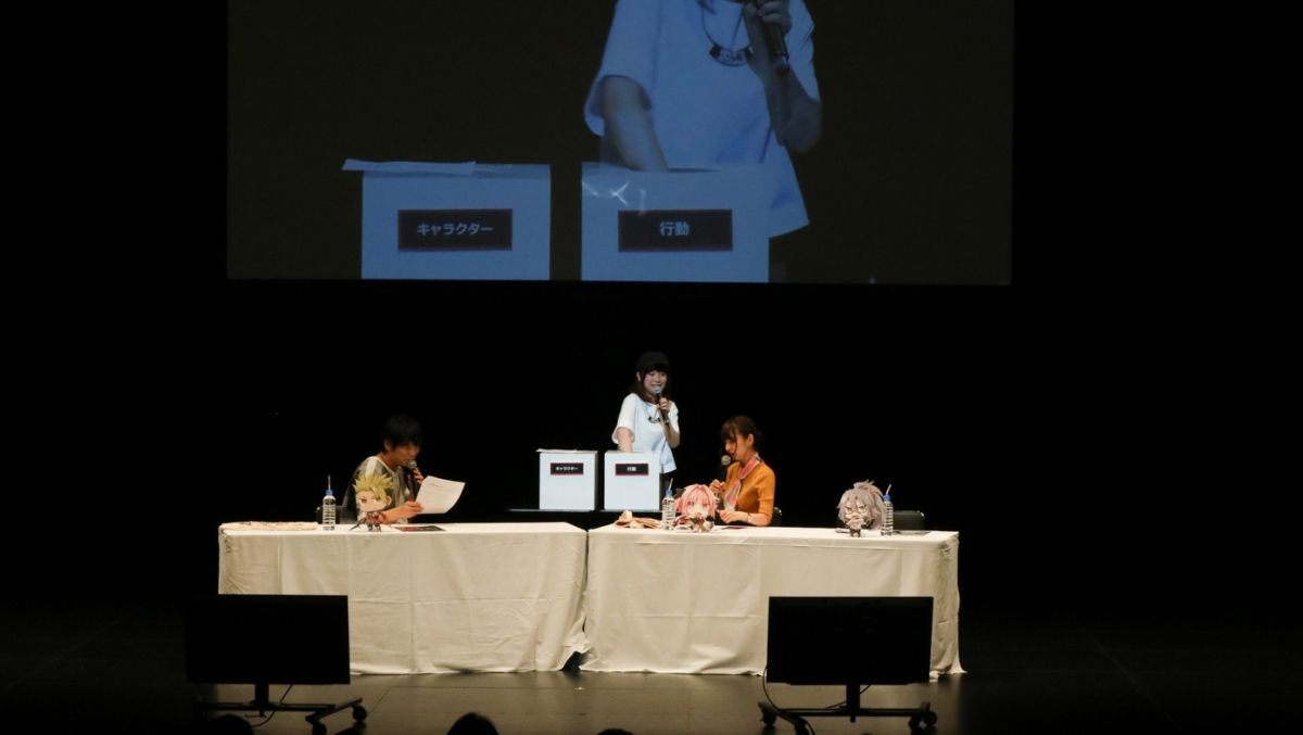 Makoto Furukawa (who plays the Rider of Red, Achilles), Rumi Okubo (who plays the Rider of Black, Astolfo), and Shizuka Ishigami, who plays Astolfo's master Celenike Icecolle Yggdmillennia, at the a live-recording of the Fate/Apocrypha radio series, Fate/Apocrypha Radio Trifas!