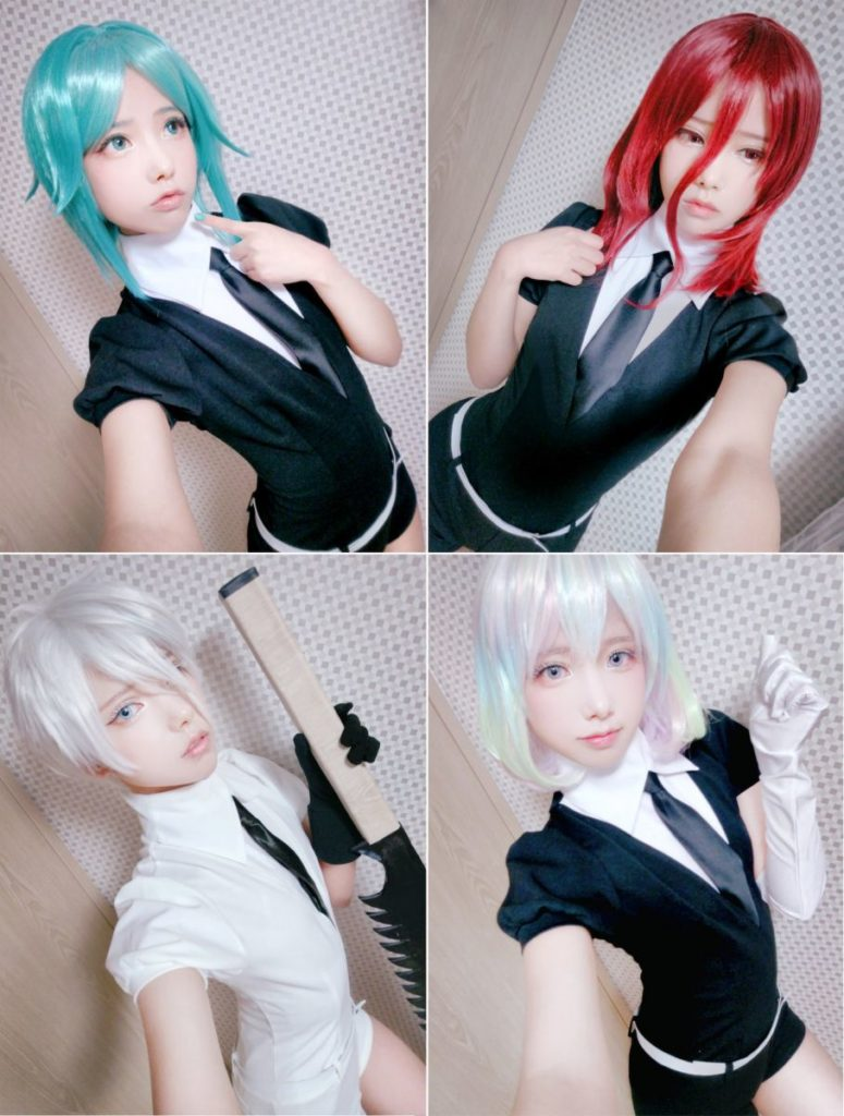 Cosplay: supermk33 as four characters from 'Land of the Lustrous'