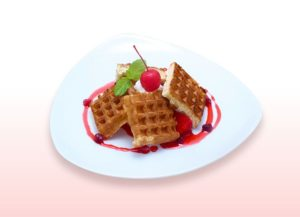 Cells at Work Collaboration Anime Cafe | Platelet's Blood Clots Waffles - 980 yen (+tax)