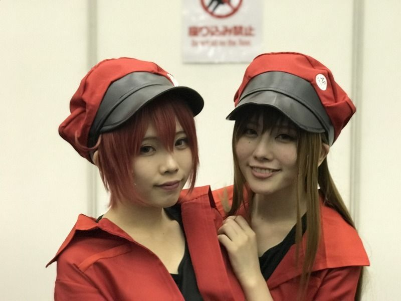 Nayuta @nayutan_pipipi as Red Blood Cell Senior and Di @kuroro67 as Red Blood Cell from Cells at Work! [Kyomaf 2018] Cosplay Report