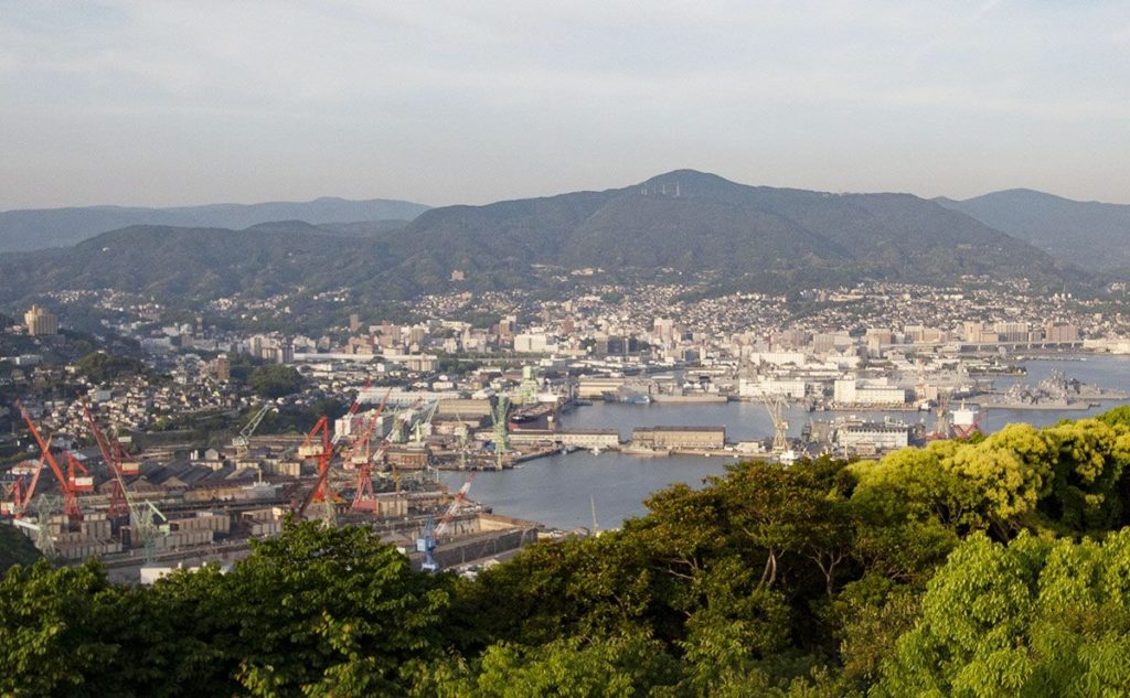 A view of Sasebo and Commander, Fleet Activities Sasebo, which is a US Navy base used by both the US and Japan Maritime Self-Defense Force.