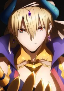 Uruk's king Gilgamesh from anime Fate/Grand Order: The Absolute Frontline in the War Against the Demonic Beasts – Babylonia. Uruk's king Gilgamesh