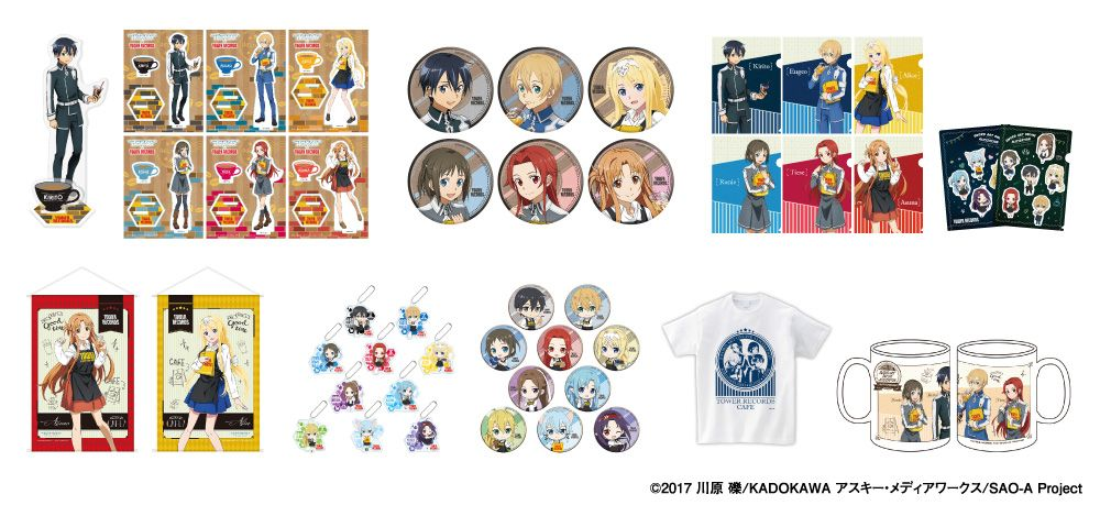 Merchandise from themed cafe Sword Art Online: Alicization x TOWER RECORDS CAFE