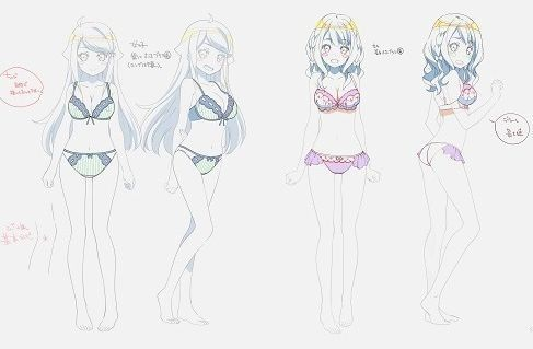 Anime character sheet (illustrations for a character setting) for Nayuta and Miyako in underwear | A Sister's All You Need (Imouto Sae Ireba Ii) Official Anime